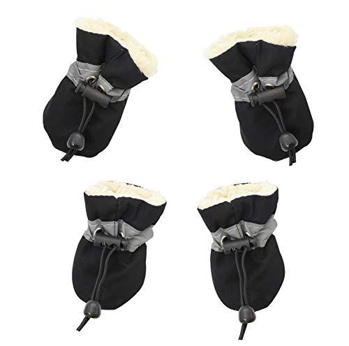 YAODHAOD Hundeschuhe, Hundestiefel Paw Protector, Winter Warm Comfortable Soft Soled Dog Skidproof Sneakers mit reflektierenden Trägern, für kleine Hunde (Größe 5: 5 x 4 cm (L * W), Schwarz)
