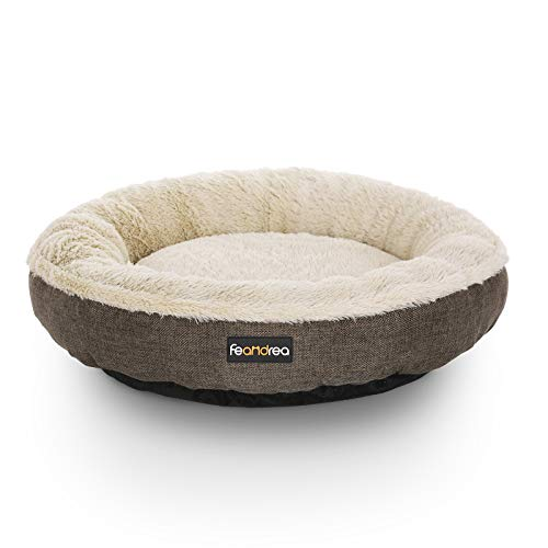FEANDREA Hundebett, Hundekorb, Katzenbett, Donut, rund, Ø 55 cm, braun PGW55C