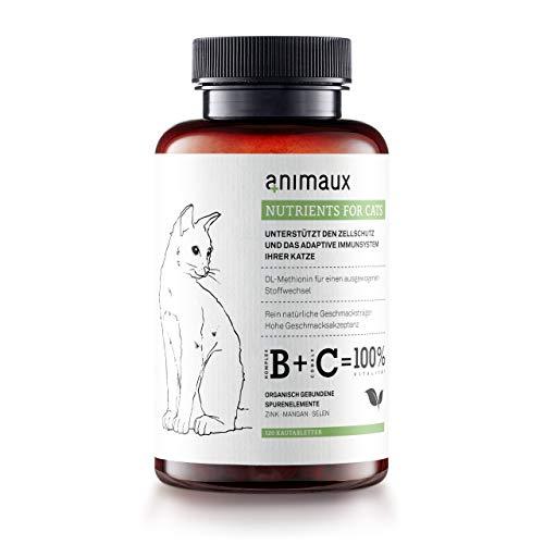 animaux – nutrients for Cats | Katzen-Vitamine | Zink, Mangan, Selen, DL-Methionin | Unterstützt gesunde Haut und EIN glattes, glänzendes Fell | 120 Tabs