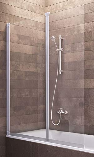 Badewannenaufsatz Duschabtrennung Badewanne Köln 130x103 cm von Schulte, Sicherheitsglas klar, Profile alu natur, 4056397001263