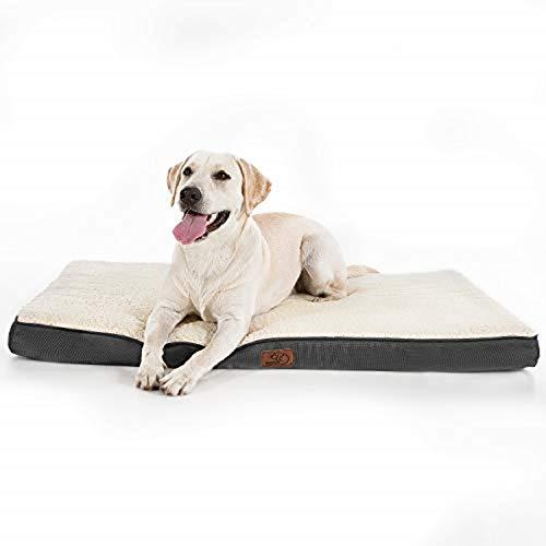 Bedsure Hundekissen XXL/Hundematratze für kleine mittlere große Hunde, eierförmiger Kistenschaum orthopädische Hundebett kuschelig bequem Schlafplatz, 110x80 cm, waschbar Höhe in 8 cm