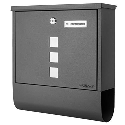 Monzana Design Briefkasten Stahl anthrazit mit Zeitungsfach Sichtfenster 2 Schlüssel Namensschild Wandbriefkasten