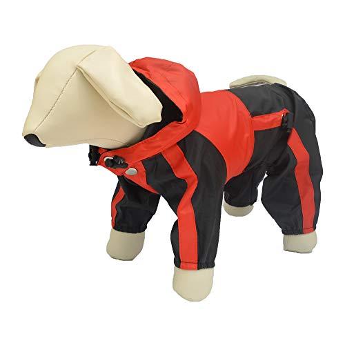 lovelonglong Hunde Regenmantel mit Hoodie, Atmungsaktive Regenjacke mit Vier Beinen im Freien Einstellbare wasserdichte Regenjacke für Kleine, Mittel, Große Hunde Red M