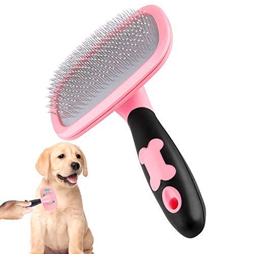 Makerfire Hundebürste Katzenbürste Kurz bis Langhaar Geeignet Sanfte Katzenbürste Zupfbürste Kurzhaar bis Langhaar-Pink