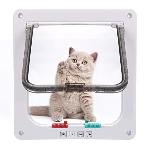 Sailnovo Katzenklappe 4-Way Magnetic Lock hundeklappe Haustiertüre Cat Flap 19 * 20 * 5.5cm Dog Cat Pet Door Flap Easy Install with Telescopic Frame with Heavy Duty Quiet Magnetic Frame, M weiß