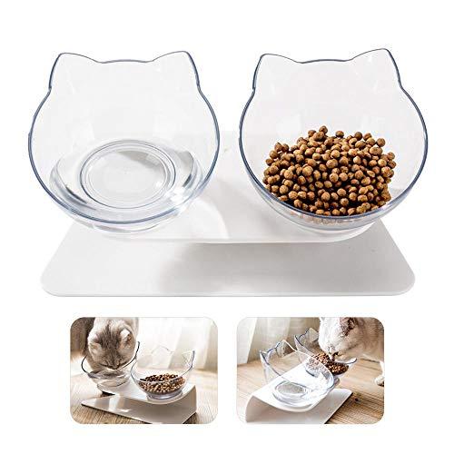 Doppelnapf für Katzen, Hamkaw 15° Neigbar Rutschfest Durchsichtig Doppelnapf mit Erhöhtem Ständer, Wassernapf und Futternapf für Katzen und Hunde
