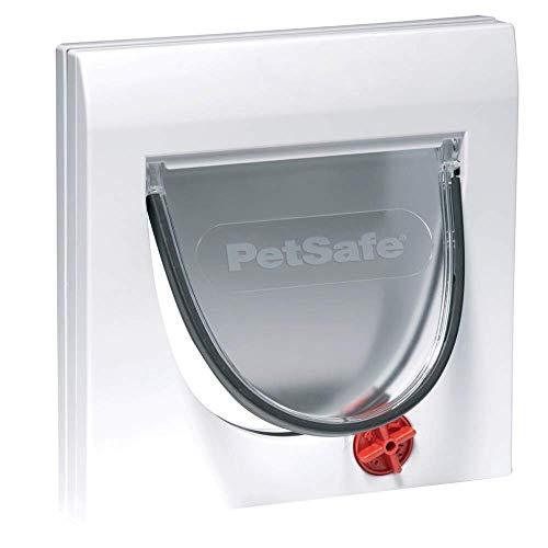 PetSafe Staywell Klassische Katzenklappe, 4 manuelle Verschluss-Optionen, Für Holz, Glas, PVC, Ziegelwände mit einer dicke von mindestens 5 cm, Inklusive festem Tunnel, Katzen bis 7 kg, weiß