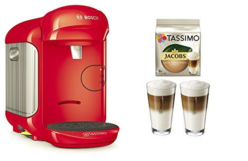 Bosch TASSIMO Vivy 2 Bundle + Latte Macchiato Gläser Set + TDisc Latte Macchiato (Rot)