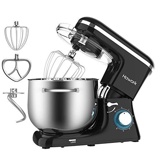 Howork Küchenmaschine 8 Liter 1500W Hohe Leistung Knetmaschine 6-stufige Geschwindigkeit Edelstahl-Schüssel mit Handgriff (8 L, schwarz)