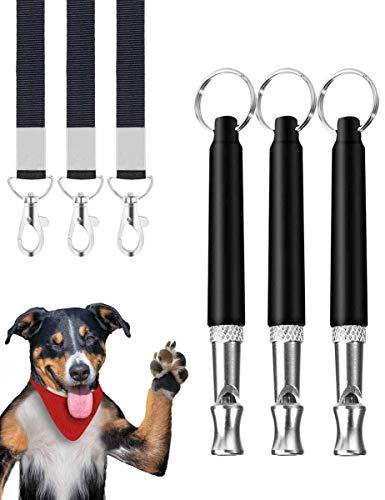 Hundepfeife,3 Stücke Professionelle Ultraschall Pfeife,Einstellbare Hochfrequenz Hunde Zubehör,mit Schlüsselband Hund Training Kit HundPfeife zum Aufhören des Bellens,für Hundetraining Schwarz