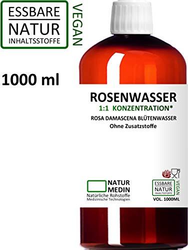 ROSENWASSER 1000-ml Gesichtswasser, 100% naturrein, 1:1 Konzentration, Rosa damascena Blüttenwasser, ohne Zusatzstoffe, PET Braunflasche, nachhaltig
