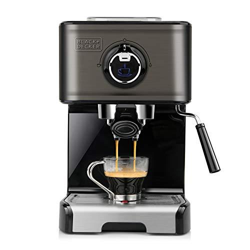 Black+Decker BXCO1200E - Espressomaschine, 15 Bar, 1.200W, Thermoblock-Schnellerhitzung, Milchaufschäumer, gemahlener Kaffee oder Kaffepads, Edelstahl, schwarz