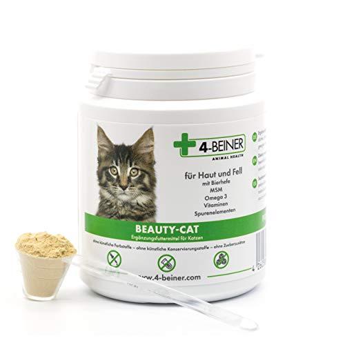 4-BEINER BEAUTY-CAT - glänzendes Fell plus Stärkung, Multi-Vitamine für Katzen mit Omega 3, MSM, Vitamin B-Komplex, Vitamin C, Biotin, Mariendistel, Bierhefe, Zink, Jod, Selen, 90 g Pulver