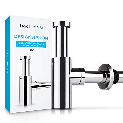 Bächlein Design Siphon Universal für Waschbecken & Waschtisch - Abflussgarnitur passgenau - Geruchsverschluss mit Reinigungsöffnung + Einbauanleitung - Designsiphon Ablaufgarnitur Röhrensiphon