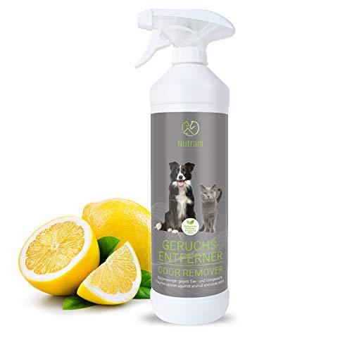 Nutrani Geruchsentferner | 750 ml - Natürlicher Enzymreiniger als gebrauchsfertiges Spray mit biologischer Wirkung entfernt Gerüche, Urin, KOT und Flecken von Hunden und Katzen