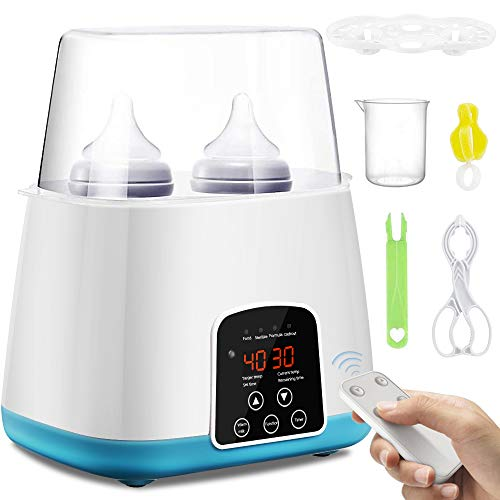 SaponinTree Babykostwärmer, Baby Bottle Warmer Milch Waermer Flaschenwärmer Flaschen Sterilisator mit Timer, LED-Display, Doppel Flaschen Wärmer für Muttermilch oder Babymilchpulver