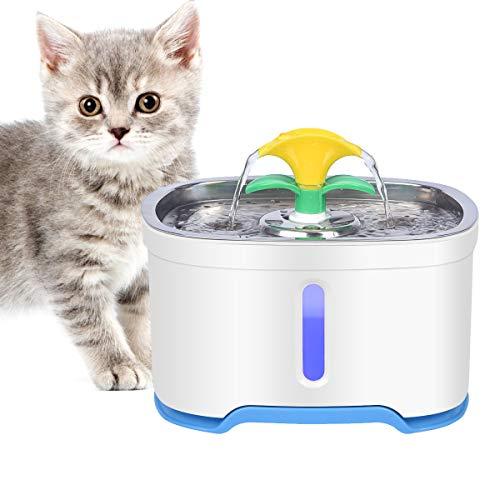 RIOGOO Haustier-Katzen-Trinkbrunnen, 84oz / 2.5L intelligente automatische Abschaltpumpe, Katzen-Trinkbrunnen Hundewasserspender Gesunder Trinkbrunnen Super leise für Katzen, Hunde, mehrere Haustiere
