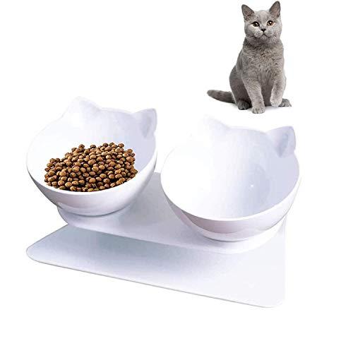 Futternapf für Katzen, Doppelnapf für Katzen mit Angehobenem Ständer 15 ° Geneigt Katzennäpfe, Futternapf Katze Erhöhte Futternapf, für Katzen Und Kleine Hunde
