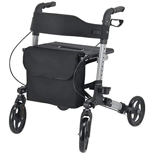 Juskys Aluminium Rollator Vital klappbar | Leichtgewichtsrollator mit Sitz, Feststellbremse & Tasche | höhenverstellbar | leicht | faltbar | Gehhilfe Gehwagen