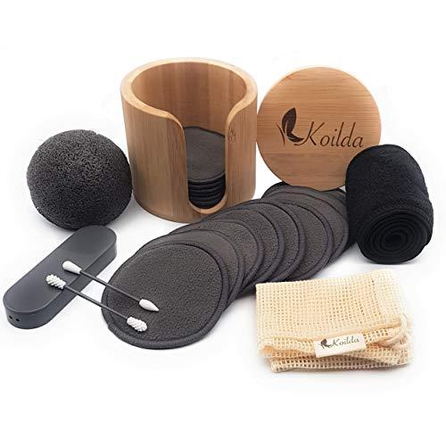 KOILDA Abschminkset,16wiederverwendbare und waschbare Make-up-Entferner-Pads aus Bambuskohle,1 Bambusgefäß,1 Waschnetz,1 Konjac-Schwamm,1 Haarband,2 waschbare Wattestäbchen mit fester Spitze.