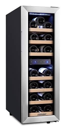 Kalamera Weinkühlschrank 2 Zonen für 19 Flaschen,Kompressor,65 Liter,Temperaturzonen 5-10°C/10-18°C,Edelstahl Glastür,KRC-75BSS