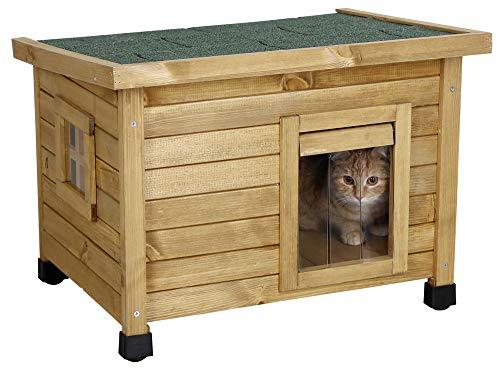 Kerbl Katzenhaus Rustica (Katzenhütte aus Holz, Schwingtüre mit Lamellen, Plexiglasfenster, höhenverstellbare Kunststofffüße, Katzenvilla) 81564