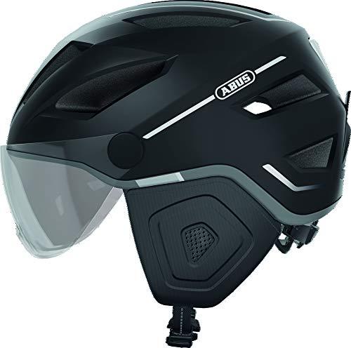 ABUS Pedelec 2.0 ACE Stadthelm - Hochwertiger E-Bike Helm mit Rücklicht und Visier für den Stadtverkehr - für Damen und Herren - 81929 - Schwarz Matt, Größe L