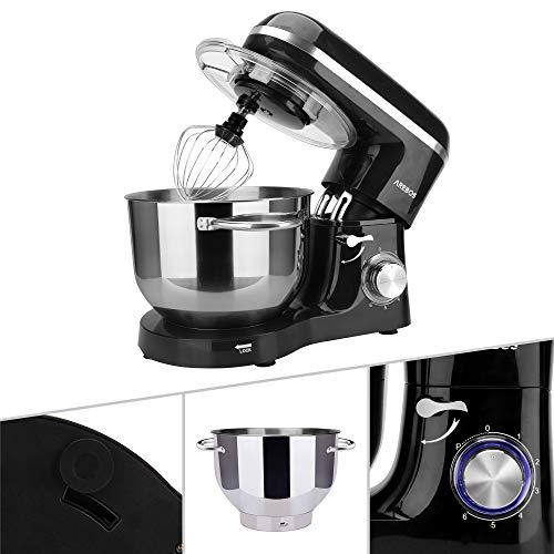 Arebos Küchenmaschine 1500W mit 6L Edelstahl-Rührschüssel, Rührbesen, Knethaken, Schlagbesen und Spritzschutz   6 Geschwindigkeit Geräuschlos Teigmaschine   Schwarz