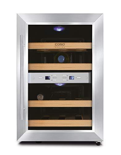 CASO WineDuett 12   Weinkühlschrank für 12 Flaschen Rotwein   2 Zonen für 8-18°C und 10-16°C, LED, 4 Böden aus Holz, UV-Filterglas, Edelstahl