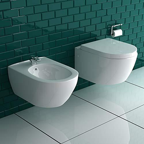 Alpenberger Spülrandloses Hänge-WC & Bidet mit Überlaufschutz & Quick-Release D-Form WC-Sitz mit Absenkautomatik | Kein Überspritzen durch ideale Wasserführung | passend zu GEBERIT