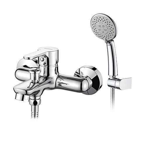 GRIFEMA PORTO-G13003 | Badewannenarmatur - Wannenbatterie mit Brauseschlauch, Handbrause mit 5 Funktionen, und Brausehalter | Aufputz Einhebel Wannenmischer-Dusche set, Chrom