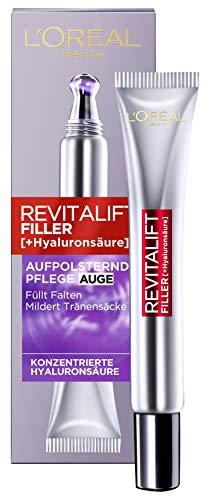 L'Oréal Paris Hyaluron Augenpflege, Revitalift Filler, Anti-Aging Augencreme, Revolutionäre Doppel-Applikatorspitze, Mit Hyaluronsäure, 15 ml