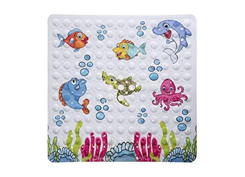 Bencas rutschfeste Kinder Badewannenmatte - Quadratische Duschmatte für mehr Kinder Sicherheit - Antirutschmatte mit Motiven (53 x 53 cm)