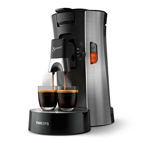 Philips Senseo Select CSA250/10 Kaffeepadmaschine (Kaffeestärkewahl Plus, Memo-Funktion, aus recyceltem Plastik), gebürsteter Stahl
