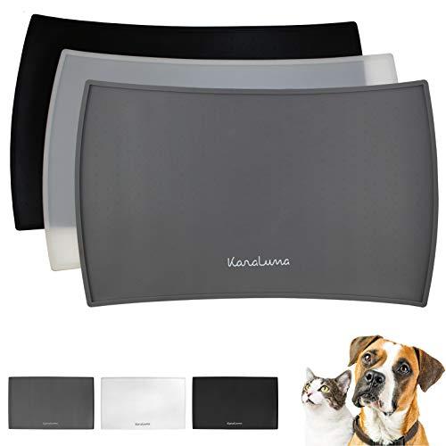 Napfunterlage aus Silikon 48x30cm (Grau, Kurvig) I Für Katze & Hund I rutschfeste Futtermatte