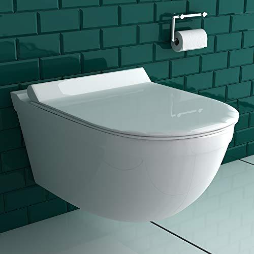 Spülrandloses Hänge-WC aus Sanitärkeraik inkl. WC-Sitz aus Duroplast Wand WC ohne Spülrand D-Form | leise, geräuschlose Absenkung SoftClose-Funktion | passend zu GEBERIT