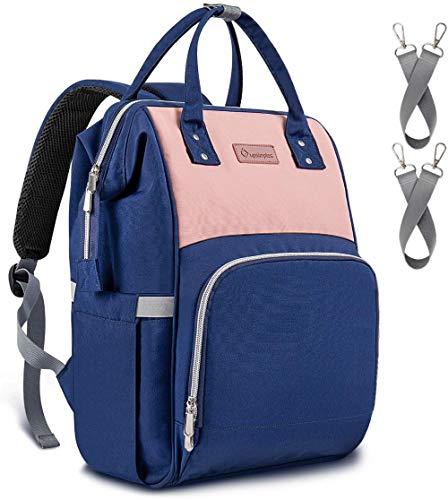 Upsimples Baby Wickeltasche Rucksack Wickelrucksack,mit USB-Ladeanschluss und 2 Kinderwagengurten für Mama (Pink & Blau)