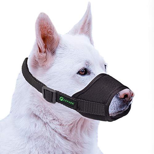 ILEPARK Hunde Maulkorb mit atmungsaktivem Netzbezug Verstellbare und weicher Hundemaulkorb zur Verhinderung von Beißen, Kauen und Bellen (S,Schwarz)