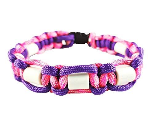 EM-Keramik Halsband für Hunde, verschiedene Größen wählbar, original EM-X-Keramik-Pipes, pink/lila