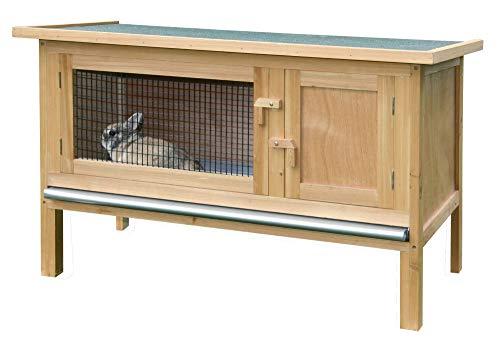 Kerbl Nagerhaus Fred (Stall für Hasen / Kanninchen, mit Ruheraum, aufklappbares Bitumendach mit Dachfixierung, verzinkte Wanne, Innenhöhe 40 cm) 82816