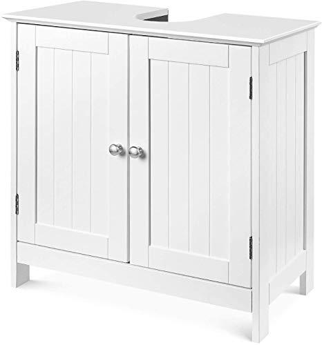Waschbeckenunterschrank Unterschrank Waschtischunterschrank mit 2 Türen freistehend Badschrank verstellbar für Badezimmer Küche aus Holz weiß 60x60x30cm