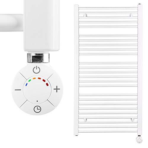 HEATSUPPLY® Badheizkörper elektrisch 1.142 x 600mm Handtuchheizkörper 600 Watt Handtuchtrockner weiß inkl. Heizstab Smart Thermostat