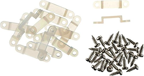 dadusto 20 Befestigungsclips + 40 Schrauben - Befestigungs-Schellen 12mm innenmaß - insgesamt 29mm lang - für 12mm breite Led Stripes - Halterung - Strip Schelle - Befestigungsclip - Led Clip