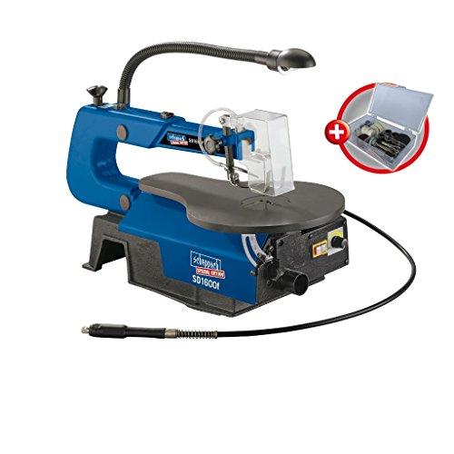 Scheppach Dekupiersäge SD1600F mit flexibler Welle (90 Watt, Schnitthöhe 50mm, Schnitttiefe 406mm, Absaugstutzen- Ø 35mm, 45° neigbarer Tisch, LED-Leuchte)