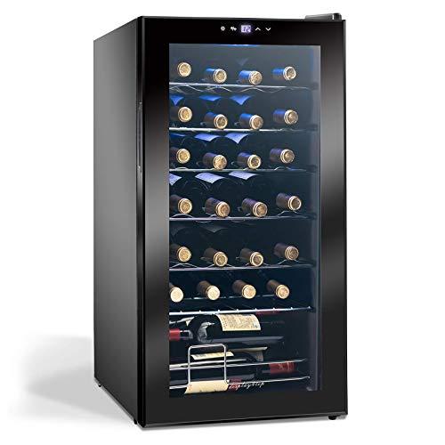 Display4top Vino Weinkühlschrank Kompressionskühler Getränkekühlschrank Unterstützt 28 Flaschen, Gehärtete Glastür, Touch-Thermostat-Panel (82L)