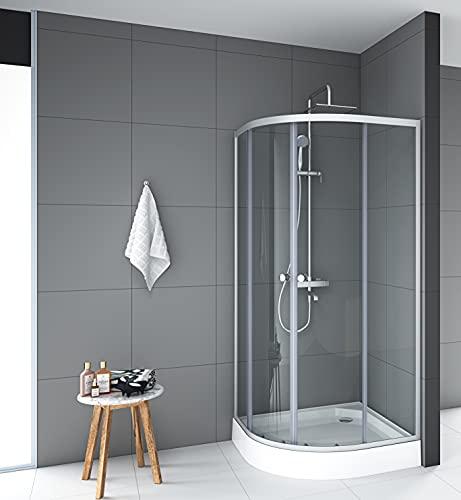 MARWELL Duschkabine Crystal Round Dusche Komplett-Set inklusive Duschtasse mit Einscheiben-Sicherheitsglas, Glasdusche mit Aluminiumprofilen in Silber Seidenmatt