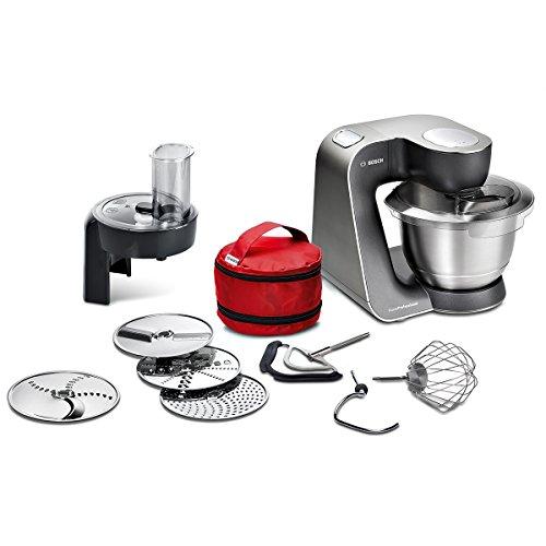 Bosch Küchenmaschine MUM5 HomeProfessional MUM59N26DE, Edelstahl-Schüssel 3,9 L, Profi-Planetenrührwerk, Knethaken, Schnee-, Silikonbesen, Durchlaufschnitzler, 4 Scheiben, 1000 W, anthrazit