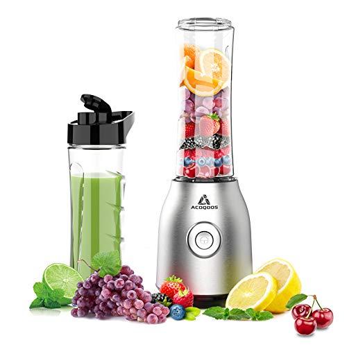 Smoothie Mixer Maker, Mini Standmixer für Smoothie, Shakes, Eis und Tiefkühlfrüchte, mit 2 Tritan BPA-Freien 600ml Mixbechern, EU Plug, 400W, ACOQOOS