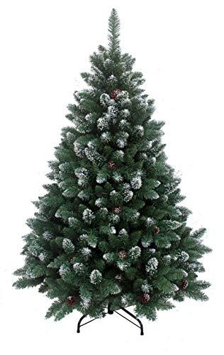 RS Trade HXT 15013 künstlicher Weihnachtsbaum 150 cm mit Schnee und Zapfen (Ø ca. 96 cm) ca. 760 Spitzen, schwer entflammbarer Tannenbaum mit Schnellaufbau Klappsystem, inkl. Christbaum Ständer