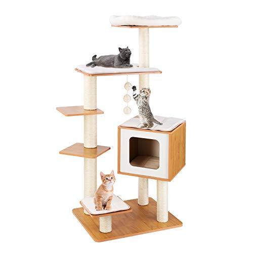 LAZY BUDDY 138 cm Kratzbaum, Katzen Kratzbäume Kletterbaum Katzenmöbel Katzenkratzbaum (100% Sisal), mit Herausnehmbaren Waschbaren Matten